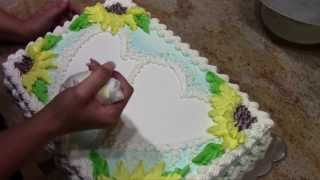 Sunflower Sheet Cake- with Stencils- how to- Cake Decorating
