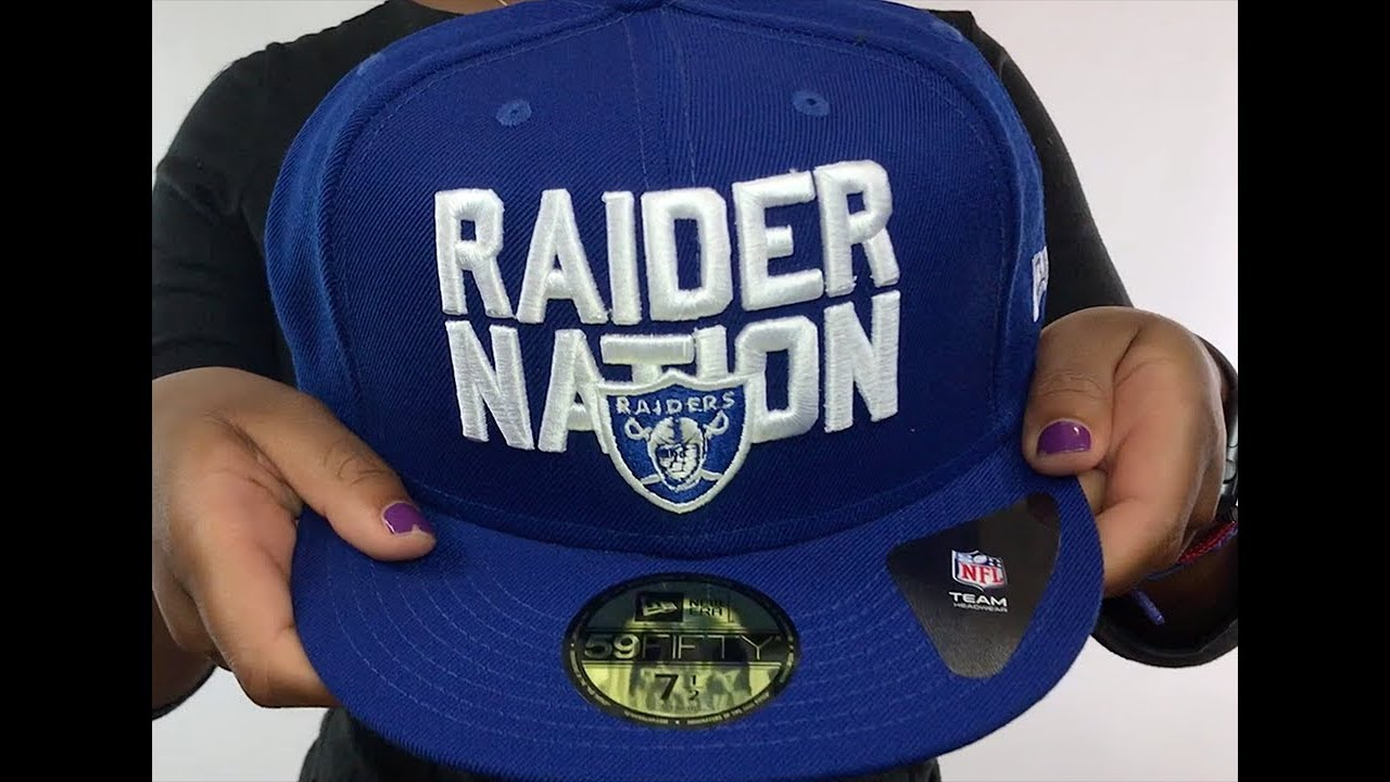 Raiders  RAIDER-NATION  Royal-White Fitted Hat by New Era - YouTube f0c7c3c2734
