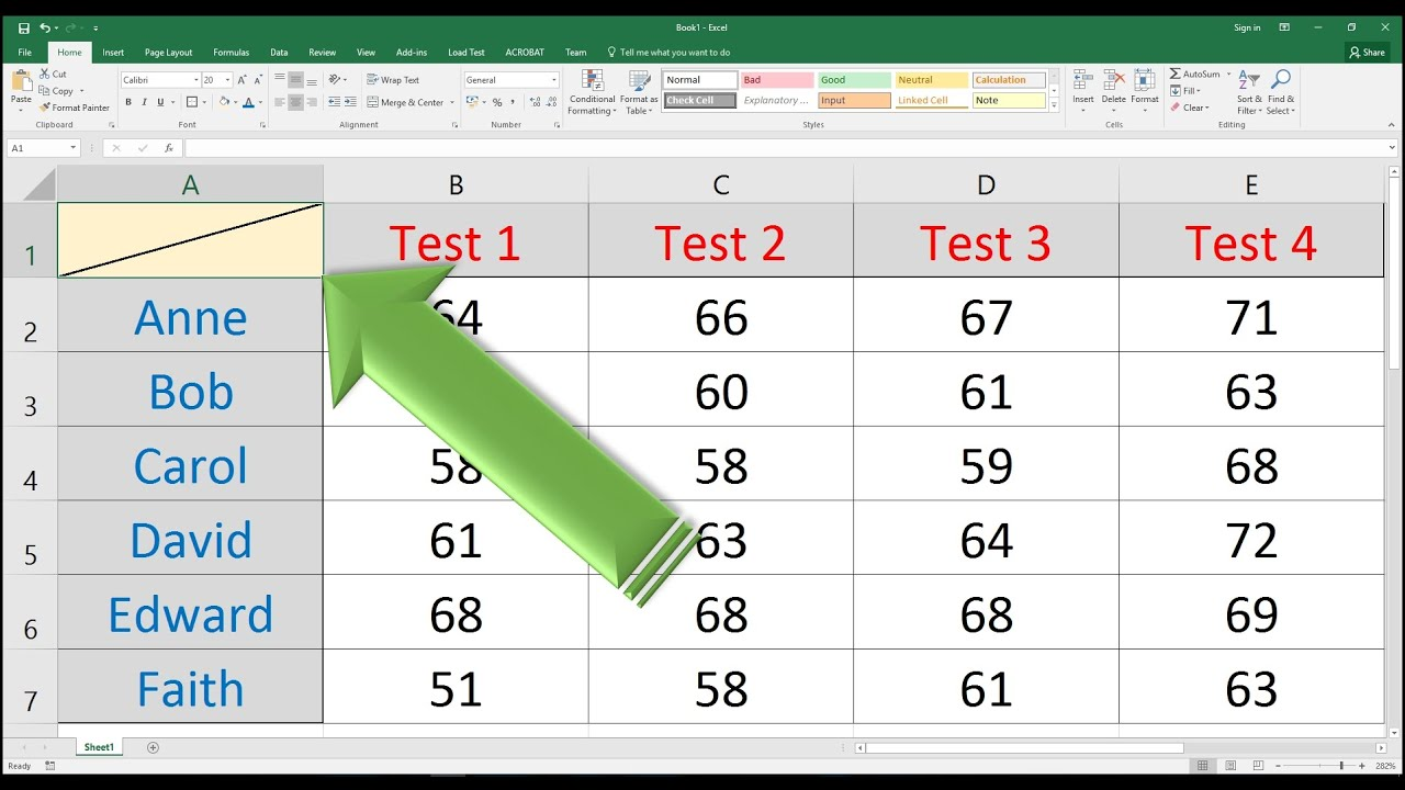 How To Add A Diagonal Line To A Cell In Excel Youtube