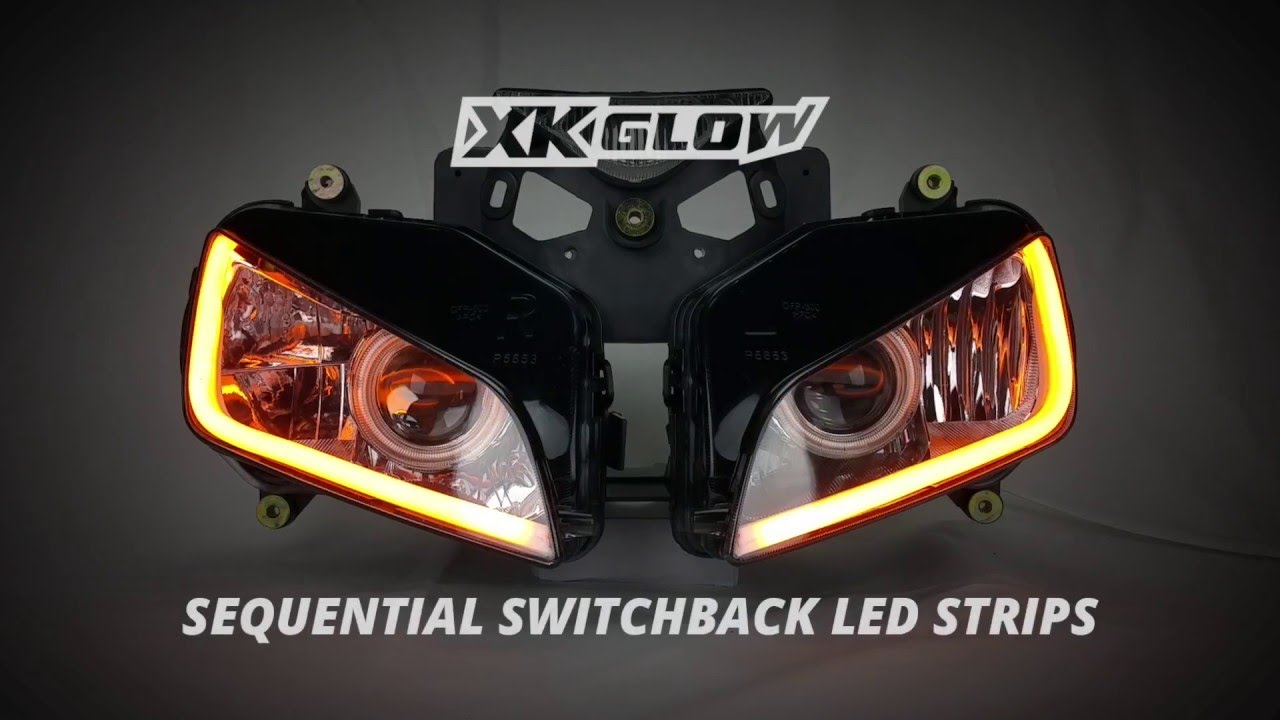 2pc Sequential Switchback LED Strip Kit DRL Turnsignal for