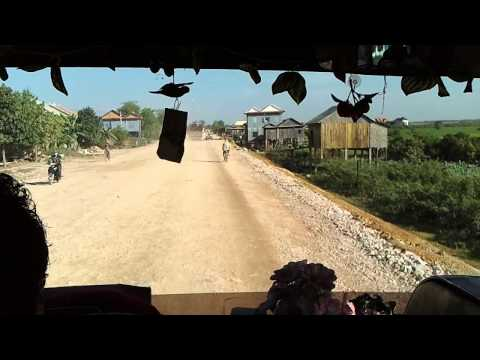 Bumpy bus ride on Mekong Express in Cambodia