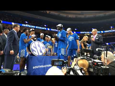 Kentucky accepts the 2018 SEC Tournament trophy