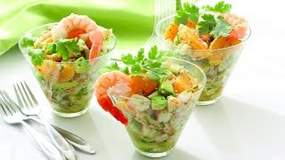 Салат праздничный с креветками, авокадо и мандаринами