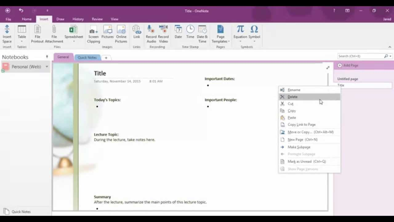 OneNote 2016 Page Templates - YouTube