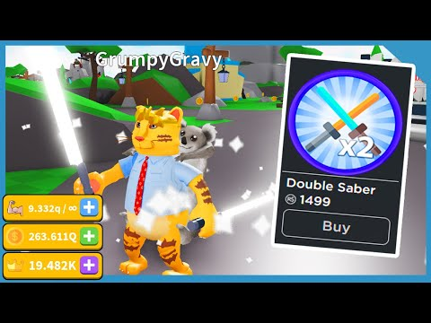 Buying The Double Light Saber Gamepass In Roblox Saber Simulator And Its Insane!