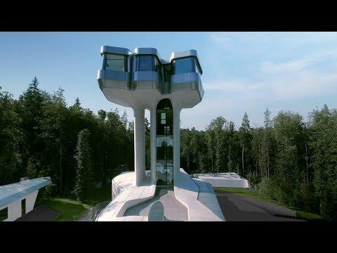Una casa en un árbol de estilo futurista