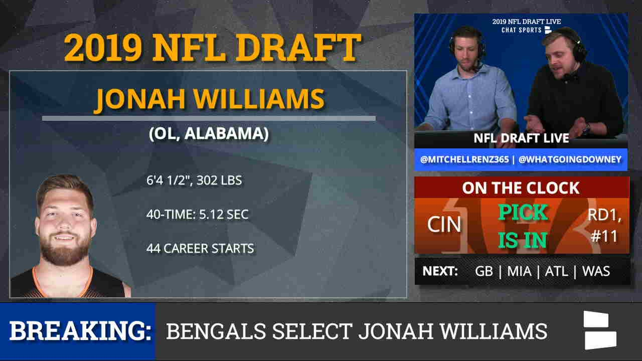 480eda56 2019 NFL Draft: Cincinnati Bengals Select OT Jonah Williams From Alabama  With Pick #11 In 1st Round