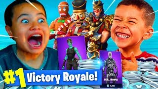 9 YEAR OLD BROTHER VS LITTLE KID SQUEAKER! 13,500 VBUCKS WAGER OF THE YEAR SOMEONE CRIED FORTNITE BR