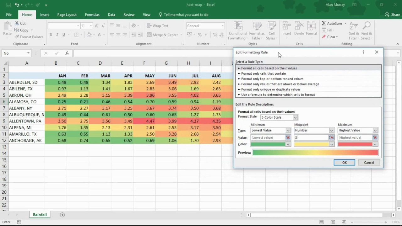 Heat Map Excel Create a Heat Map using Conditional Formatting in Excel   YouTube Heat Map Excel