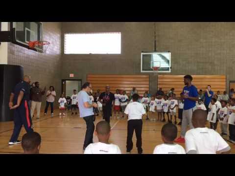 Reggie Bullock at Pistons FIT event in Detroit