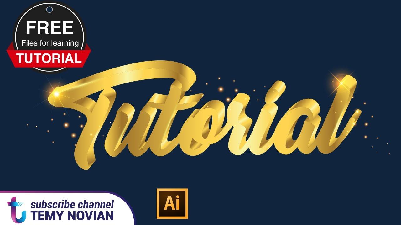 Illustrator tutorial golden text 3D