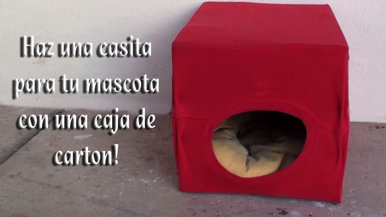 Como hacer una camita para sus mascotas con una caja de carton youtube - Como hacer una casita para perros ...