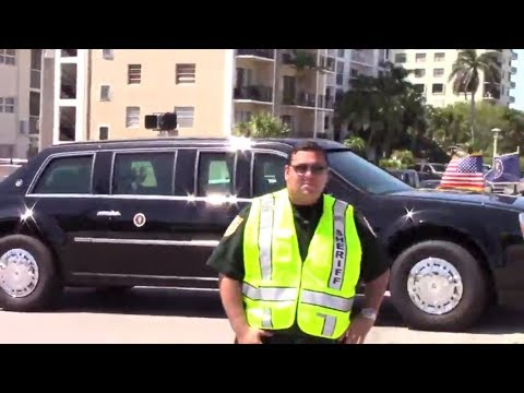 President Trump motorcade in Palm Beach after traveled to Key West, Florida April 19, 2018