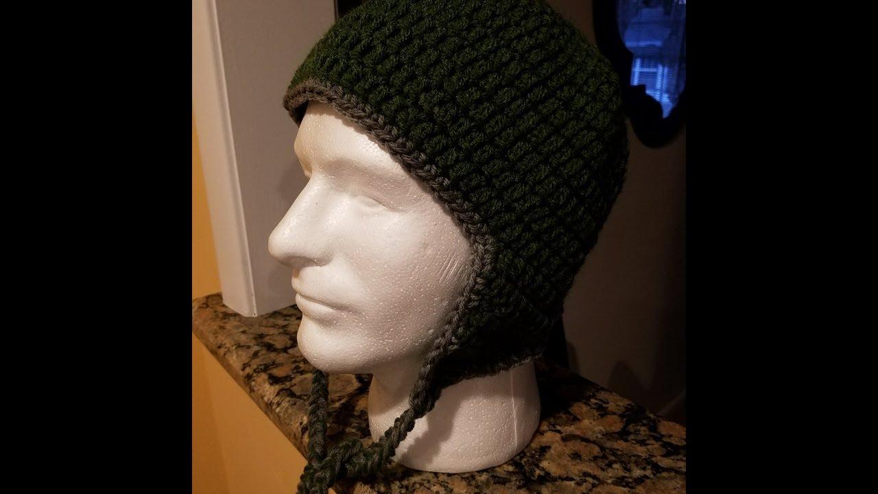 ded8911d170 Crocheted Ear Flap Hat Tutorial - YouTube
