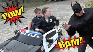 Kid Heroes 5 - Cops With Their Police Car Teach Evil Batman A Lesson For Stealing