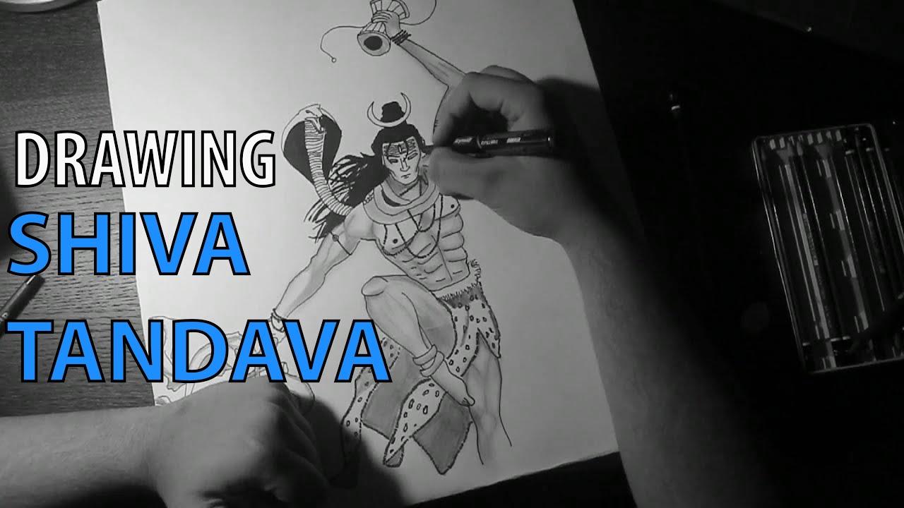 Shiva tandava drawing time lapse speed sketch drawing shiva tandav music youtube