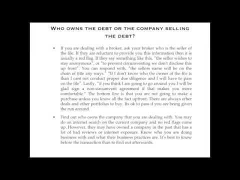 Due Dillgence on Buying Debt