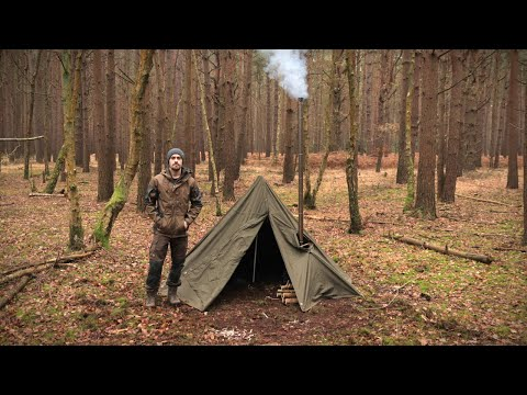 Hobbit Tent Camping with a Woodstove - Bushcraft, Knife, Backpack | Early Winter Camp