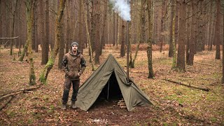 Hobbit Tent Camping wİth a Woodstove - Bushcraft, Knife, Backpack | Early Winter Camp