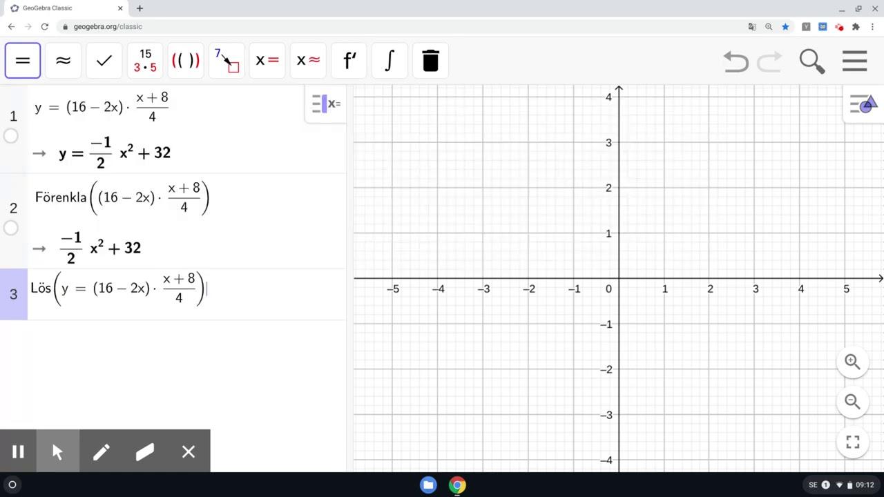 GeoGebra - CAS - Förenkla algebraiska uttryck samt lös ut önskade variabler ur samband