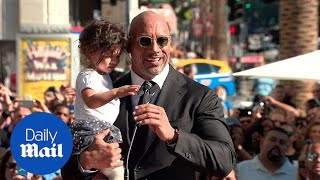 Hey now, its a Rock star! Dwayne Johnson gets Hollywood star - Daily Mail