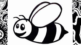 como dibujar una abeja   how to draw a bee