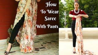 How To Wear Saree With Pants | Saree Draping Tutorial | Perkymegs