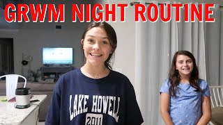 GRWM NIGHT ROUTINE FOR OUR FIRST DAY OF OUR NEW SCHOOL! EMMA AND ELLIE