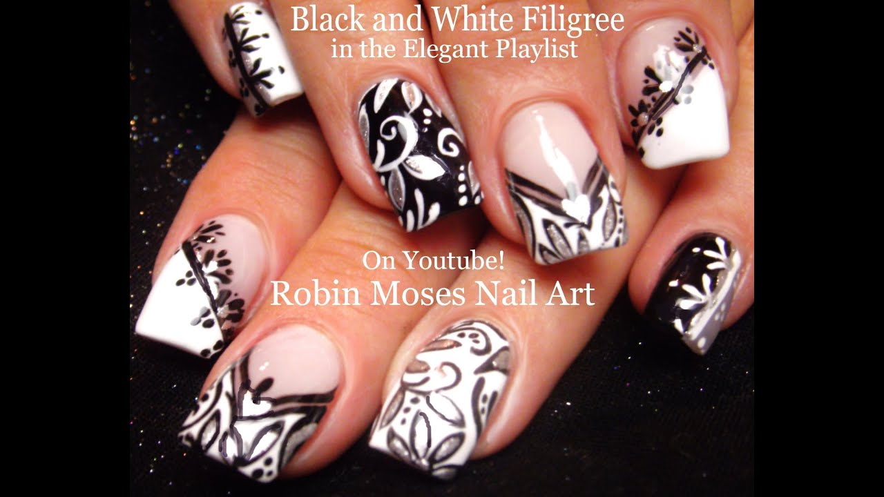 Nail Art | Black and White Nails! | Mix and Match Filigree Nail Design  Tutorial! - YouTube - Nail Art Black And White Nails! Mix And Match Filigree Nail