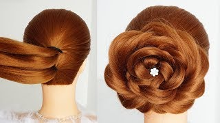 Flower Bun Hairstyle For Girls Easy Hairstyle For Long Hair Hairstyles Tutorial For Wedding