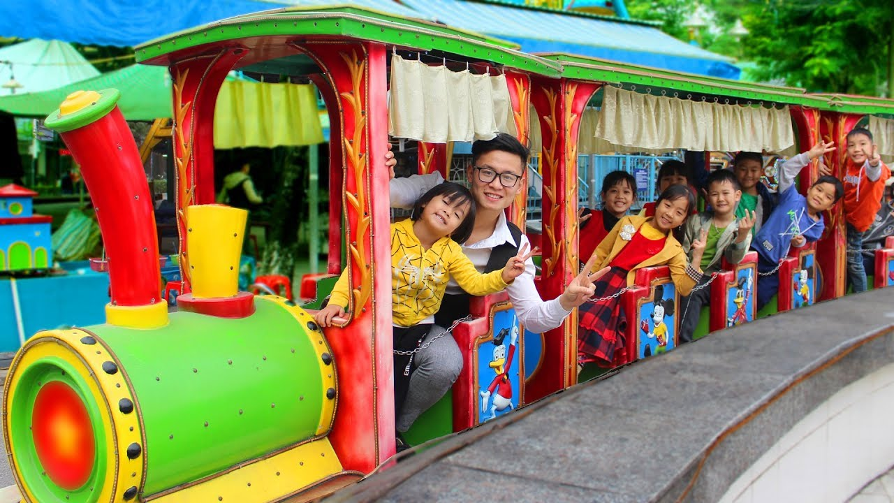 Superhero Kids Go To School At Indoor Playground Family Fun Play Area With Train Toy Ride Song
