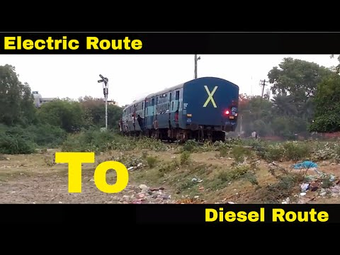 Train Enter from Electric Route to Diesel Route | LKO WDM-3D with 54154 Kanpur Rae Bareli Passenger