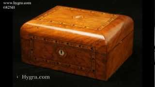 Antique Inlaid Figured Walnut Sewing Box 1870.