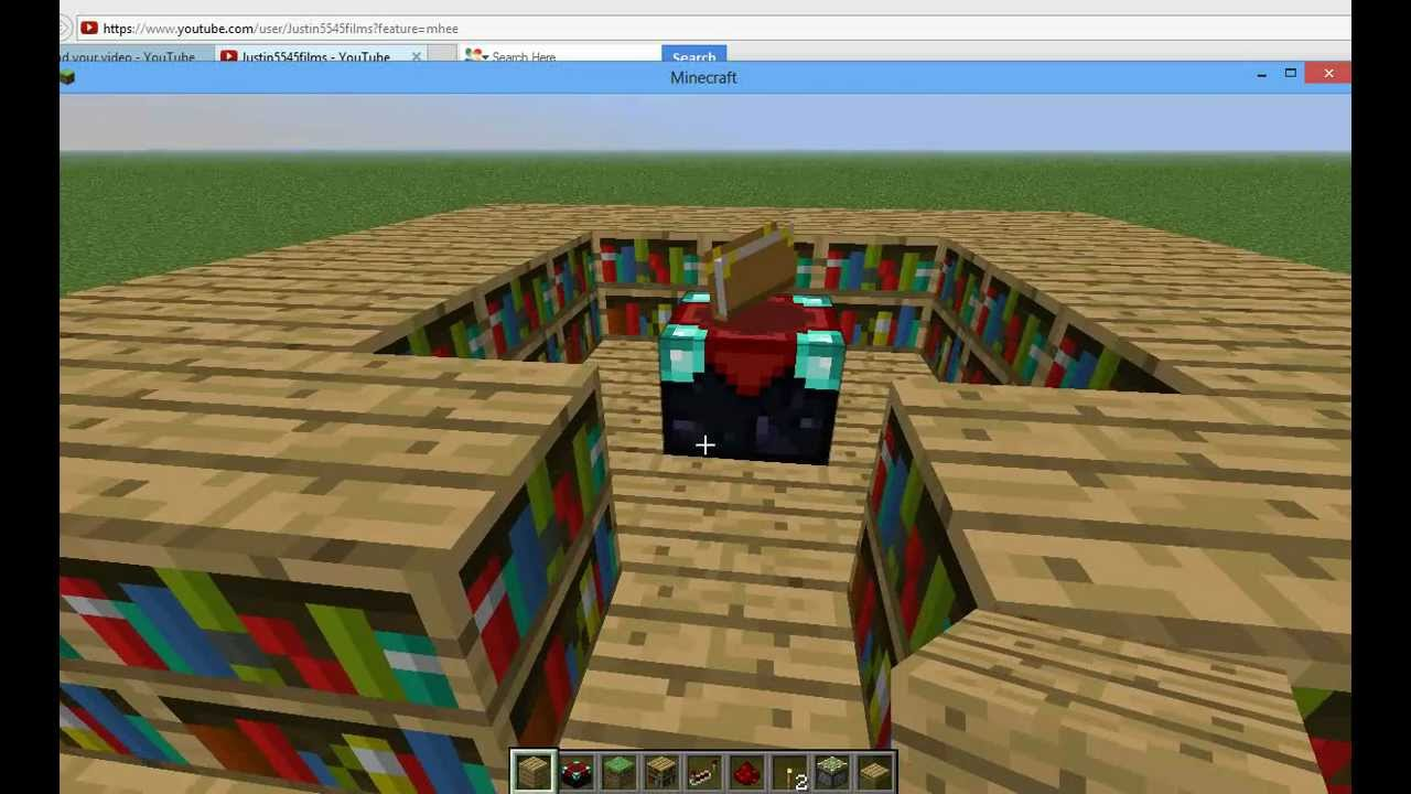 Minecraft Tutuorials  How To Make An Enchantment Room With Pop - Enchantment table bookshelves