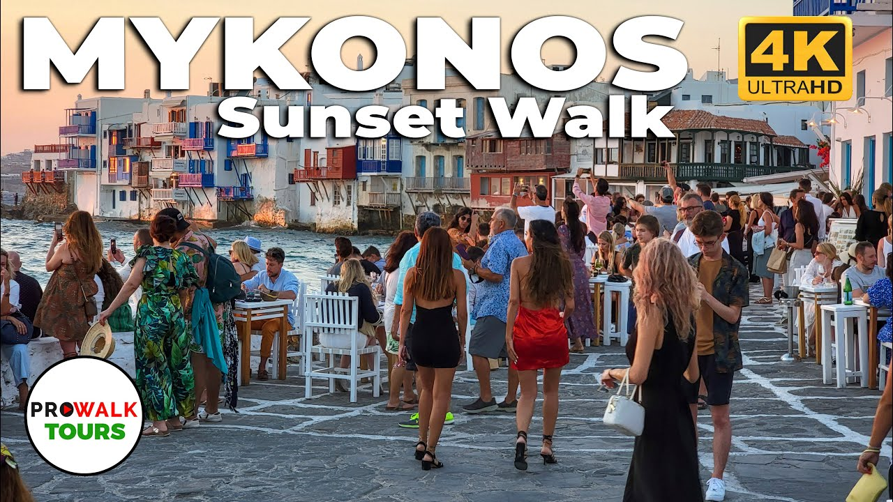 Mykonos, Greece Sunset Walk - 7pm-8pm - 4K