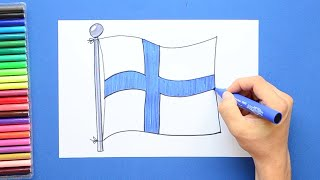How to draw and color the National Flag of Finland