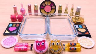 pink-vs-gold-mixing-makeup-eyeshadow-into-clear-slime-special-series-60-satisfying-slime-videos