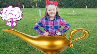 Öykü finds surprise toys magic lamp - Fun kid