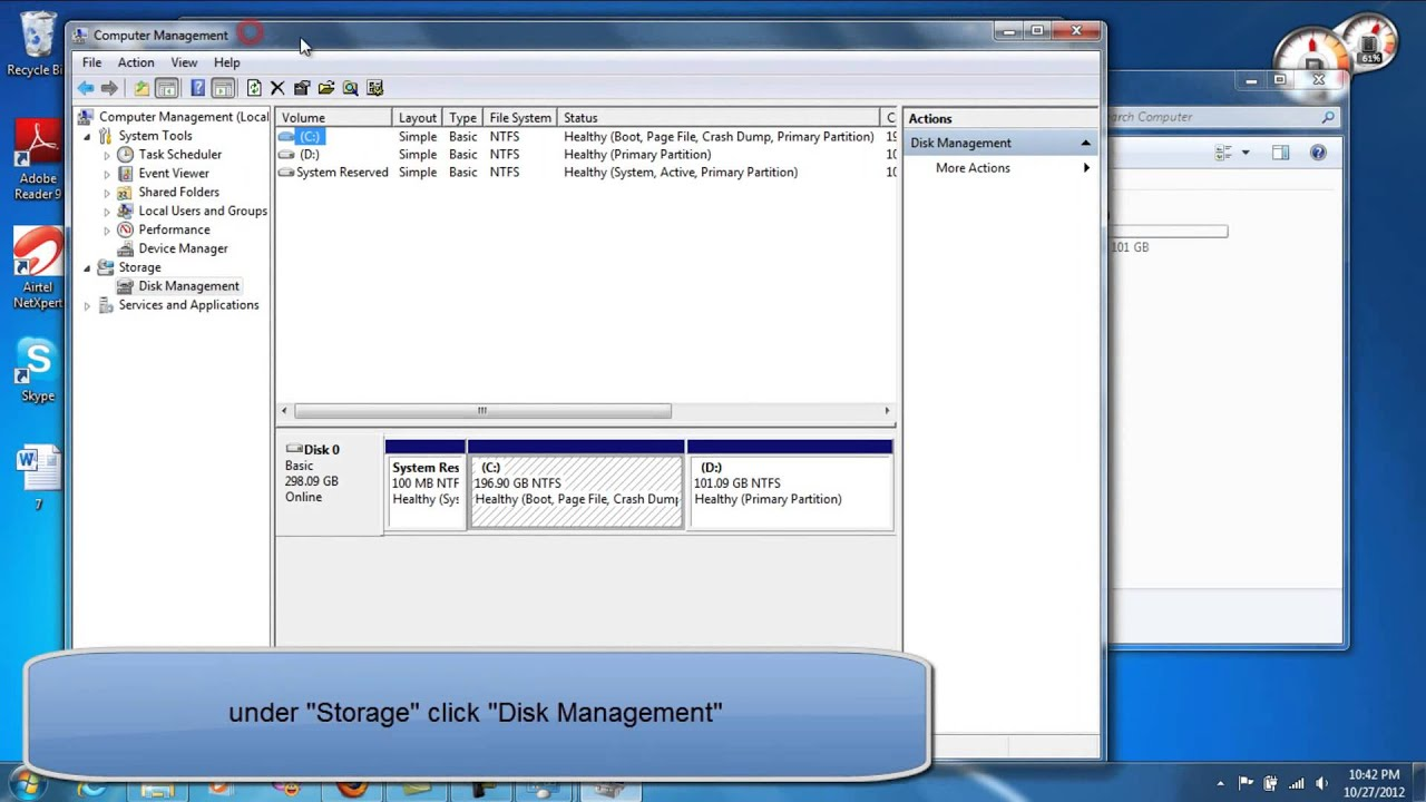 how to partition win 7