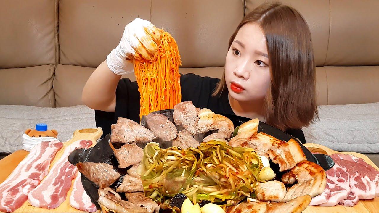 비빔면 + 삼겹살 + 목살 싹쓰리조합! 🌟인정? 👌 혼술 먹방 ASMR MUKBANG EATING SHOW REAL SOUND 삼겹살 목살 바베큐 비빔면