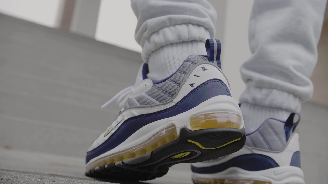 the best attitude a5a97 aeb6a NIKE AIR MAX 98 (WHITE   TOUR YELLOW - MIDNIGHT NAVY)