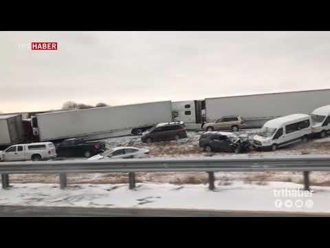ABD'de kar yağışı trafiği alt üst etti: 100 araç birbirine girdi