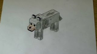 How to draw a wolf - Minecraft