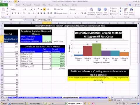 Excel 2010 Statistics 14: Descriptive & Inferential Statistics