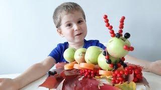 осенние поделки Для детского сада Гусеница из яблок