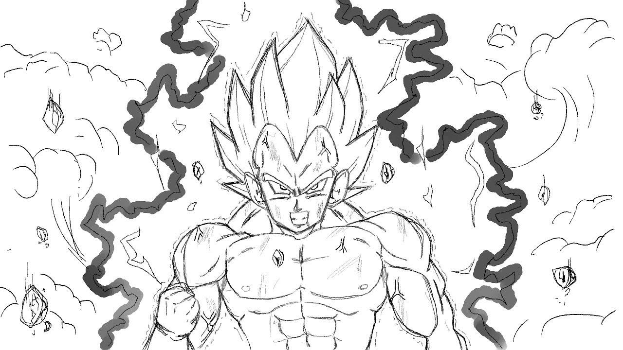 Comment dessiner VEGETA SSJ Combat - Dragon Ball Z - YouTube