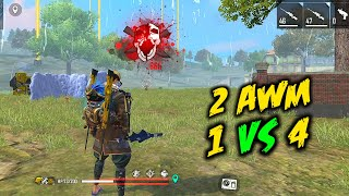 Hit 2 AWM Solo vs Squad Awesome Gameplay - Garena Free Fire