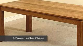 Cambridge Solid Oak Dining Table & 8 Brown Leather Chairs