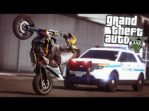 GTA 5 - Evade Ep16 - Bike Stunts, Chases, and Shootouts!!