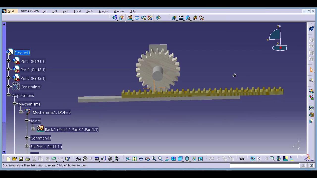 Catia V5 Assembly And Simulation 52 Rack Pinion